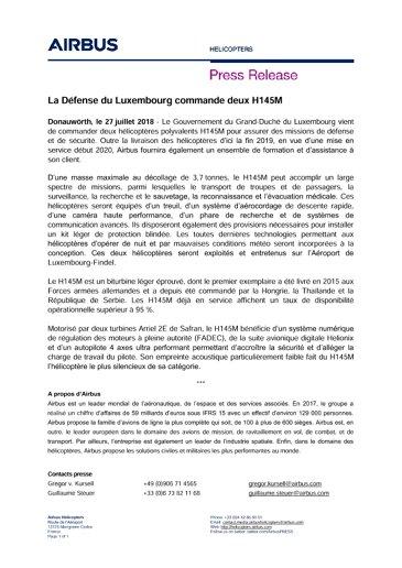 La Défense du Luxembourg commande deux H145M