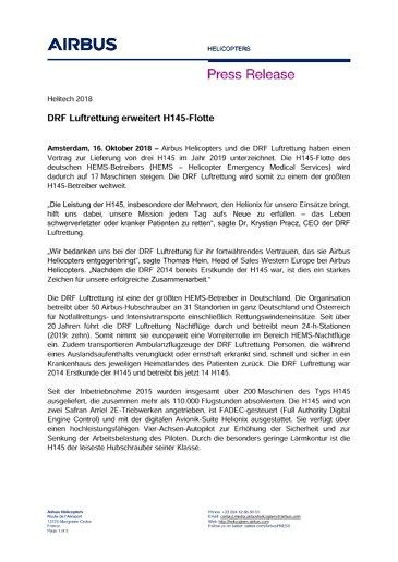 DRF Luftrettung erweitert H145-Flotte