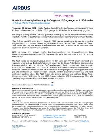 Nordic Aviation Capital bestätigt Auftrag über 20 Flugzeuge der A220-Familie