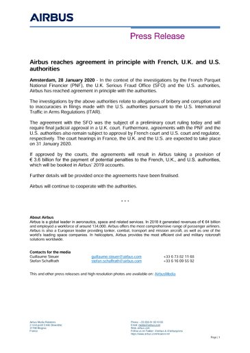 Airbus reaches agreement in principle with French, U.K. and U.S. authorities