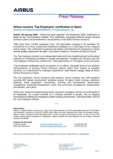 Airbus receives 'Top Employers' certification in Spain