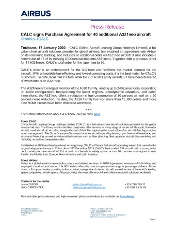 CALC signs Purchase Agreement for 40 additional A321neo aircraft