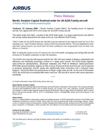 Nordic Aviation Capital finalised order for 20 A220 Family aircraft
