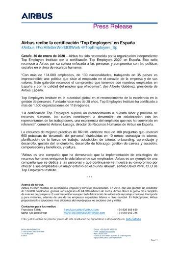 Airbus recibe la certificación 'Top Employers' en España
