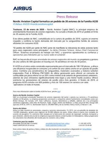 Nordic Aviation Capital formaliza un pedido de 20 aviones de la Familia A220