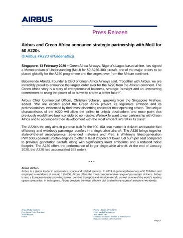Airbus and Green Africa announce strategic partnership with MoU for 50 A220s