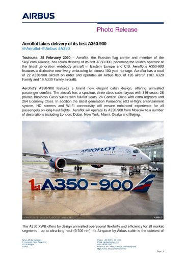 Aeroflot takes delivery of its first A350-900