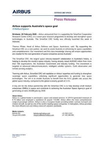 Airbus supports Australia's space goal