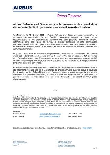 Airbus Defence and Space engage le processus de consultation des représentants du personnel concernant sa restructuration