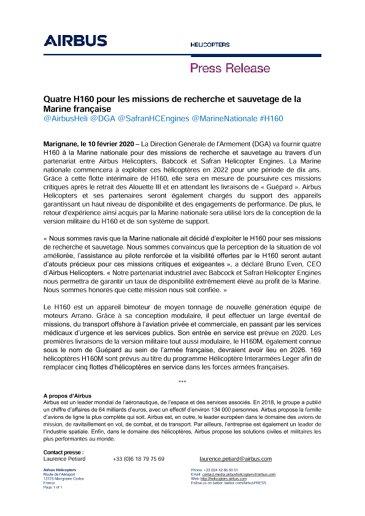Quatre H160 pour les missions de recherche et sauvetage de la Marine française