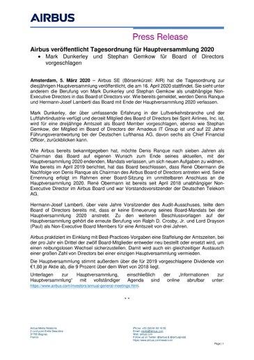 Airbus veröffentlicht Tagesordnung für Hauptversammlung 2020
