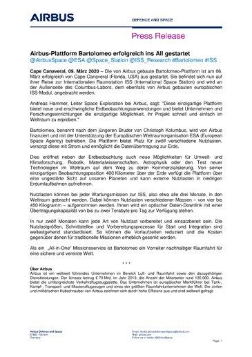 Airbus-Plattform Bartolomeo erfolgreich ins All gestartet