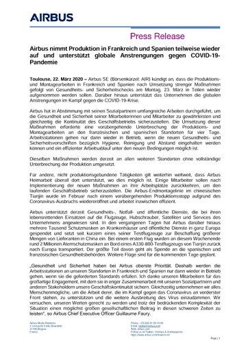 Airbus nimmt Produktion in Frankreich und Spanien teilweise wieder auf und unterstützt globale Anstrengungen gegen COVID-19-Pandemie