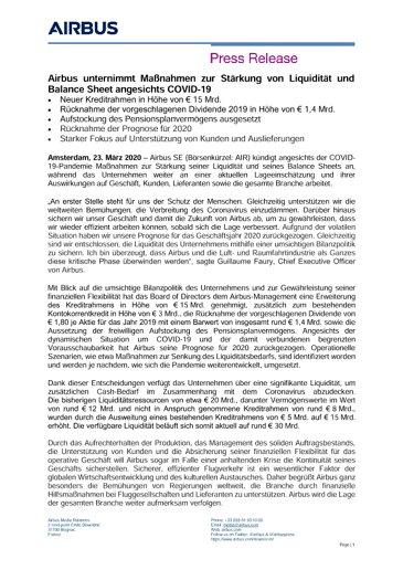 Airbus unternimmt Maßnahmen zur Stärkung von Liquidität und Balance Sheet angesichts COVID-19