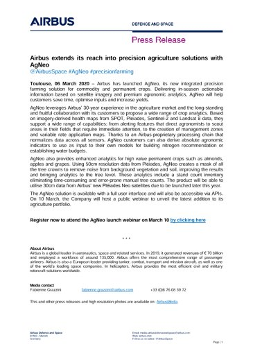 Airbus extends its reach into precision agriculture solutions with AgNeo