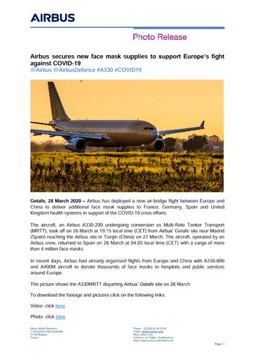 Airbus secures new face mask supplies to support Europe's fight against COVID-19