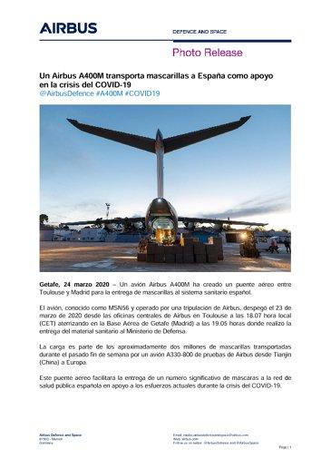Un Airbus A400M transporta mascarillas a España como apoyo  en la crisis del COVID-19