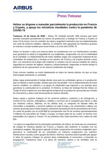 Airbus se dispone a reanudar parcialmente la producción en Francia y España, y apoya las iniciativas mundiales contra la pandemia de COVID-19