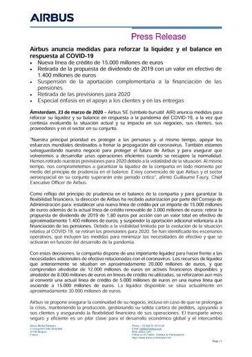 Airbus anuncia medidas para reforzar la liquidez y el balance en respuesta al COVID-19