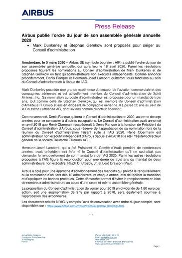 Airbus publie l'ordre du jour de son assemblée générale annuelle 2020