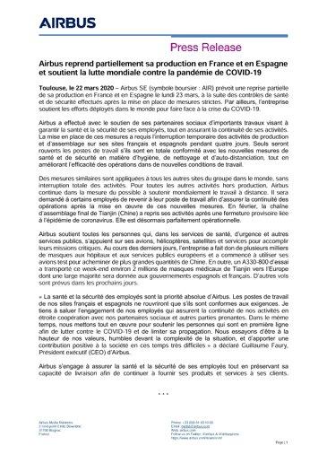 Airbus reprend partiellement sa production en France et en Espagne et soutient la lutte mondiale contre la pandémie de COVID-19