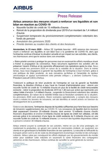 Airbus annonce des mesures visant à renforcer ses liquidités et son bilan en réaction au COVID-19