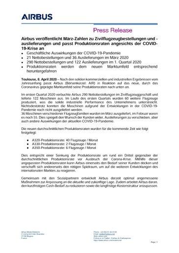 Airbus veröffentlicht März-Zahlen zu Zivilflugzeugbestellungen und -auslieferungen und passt Produktionsraten angesichts der COVID-19-Krise an