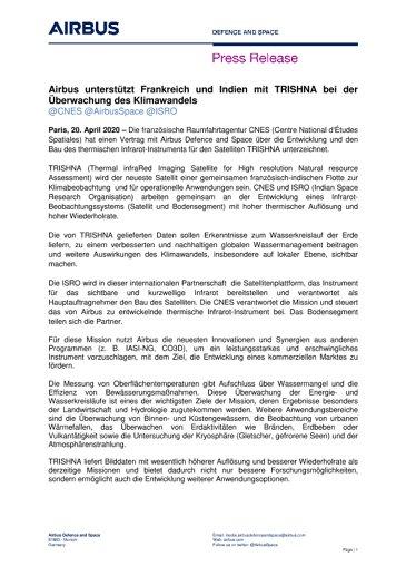 Airbus unterstützt Frankreich und Indien mit TRISHNA bei der Überwachung des Klimawandels