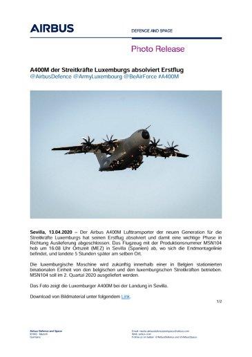 A400M der Streitkräfte Luxemburgs absolviert Erstflug
