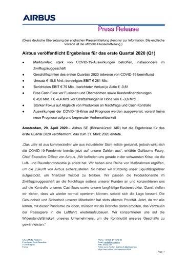 Airbus veröffentlicht Ergebnisse für das erste Quartal 2020 (Q1)