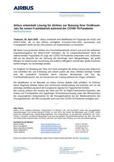 Airbus entwickelt Lösung für Airlines zur Nutzung ihrer Großraum-Jets für reinen Frachtbetrieb während der COVID-19-Pandemie