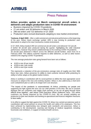 Airbus provides update on March commercial aircraft orders & deliveries and adapts production rates in COVID-19 environment