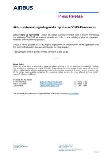Airbus statement regarding media reports on COVID-19 measures