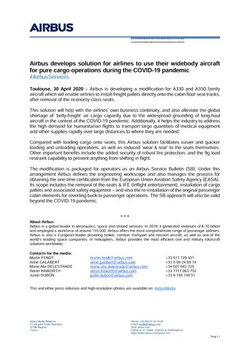 Airbus develops solution for airlines to use their widebody aircraft for pure cargo operations during the COVID-19 pandemic