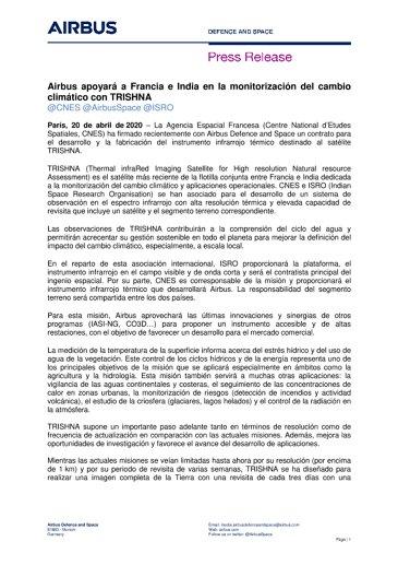 Airbus apoyará a Francia e India en la monitorización del cambio climático con TRISHNA