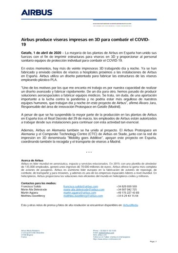 Airbus produce viseras impresas en 3D para combatir el COVID-19
