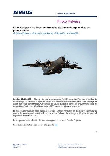 El A400M para las Fuerzas Armadas de Luxemburgo realiza su primer vuelo
