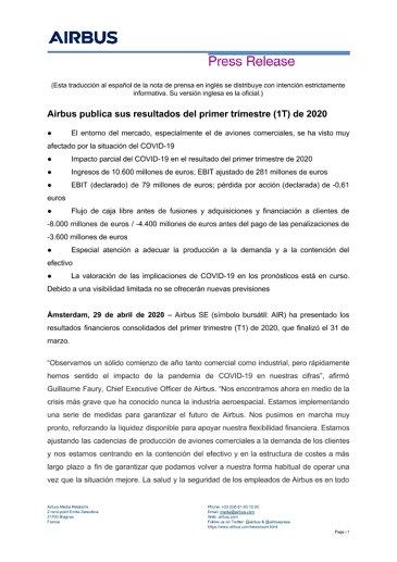 Airbus publica sus resultados del primer trimestre (1T) de 2020