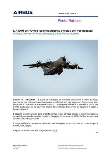 L'A400M de l'Armée luxembourgeoise effectue son vol inaugural