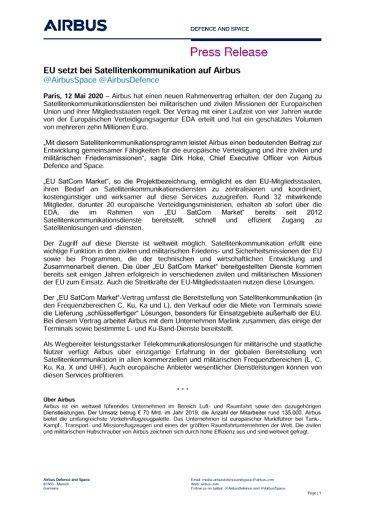 EU setzt bei Satellitenkommunikation auf Airbus