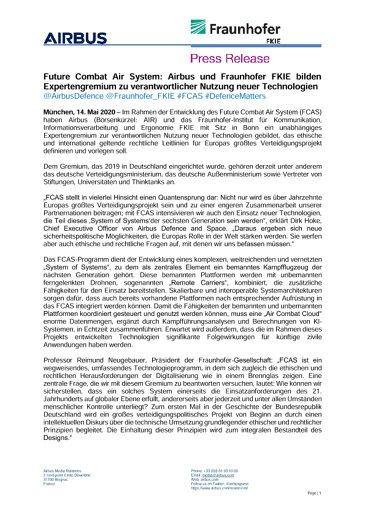 Future Combat Air System: Airbus und Fraunhofer FKIE bilden Expertengremium zu verantwortlicher Nutzung neuer Technologien