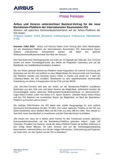 Airbus und Xenesis unterzeichnen Nutzlast-Vertrag für die neue Bartolomeo-Plattform der Internationalen Raumstation ISS