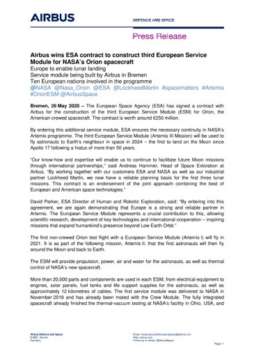 Airbus wins ESA contract to construct third European Service Module for NASA's Orion spacecraft