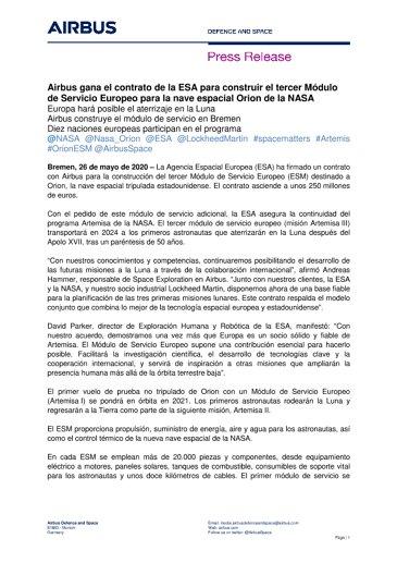 Airbus gana el contrato de la ESA para construir el tercer Módulo de Servicio Europeo para la nave espacial Orion de la NASA
