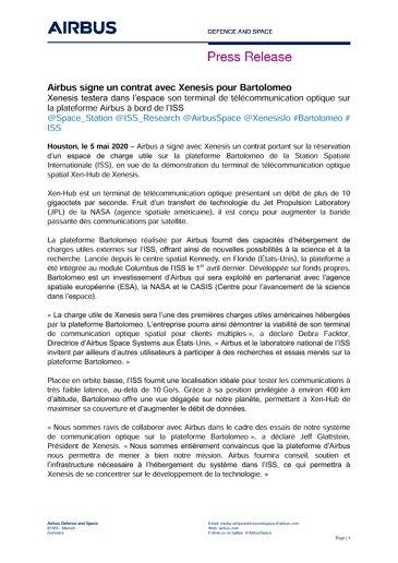 Airbus signe un contrat avec Xenesis pour Bartolomeo
