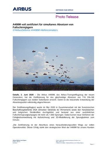 A400M voll zertifiziert für simultanes Absetzen von Fallschirmjägern
