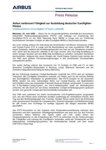 Airbus verbessert Fähigkeit zur Ausbildung deutscher Eurofighter-Piloten