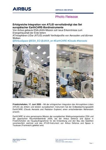 Erfolgreiche Integration von ATLID vervollständigt das Set europäischer EarthCARE-Bordinstrumente