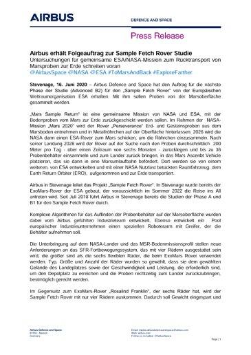 Airbus erhält Folgeauftrag zur Sample Fetch Rover Studie