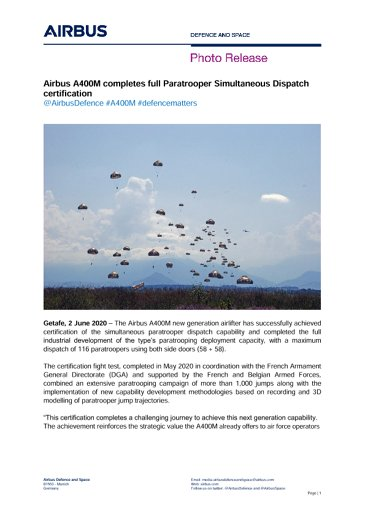 Airbus A400M completes full Paratrooper Simultaneous Dispatch certification